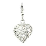 Silver Ladies' Filigree Heart clip on charm ()