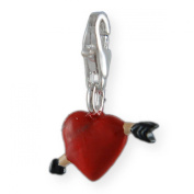 MELINA Charms clip on pendant heart sterling silver 925 enamel