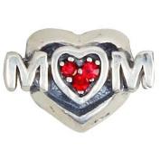 """Mum"" Red Crystal Heart - Sterling Silver Charm Bead - fits Pandora, Chamilia etc style Bracelets - SpangleBead"
