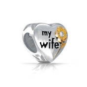 Bling Jewellery CZ Flower Two Tone My Wife Heart Bead 925 Silver Fits Pandora