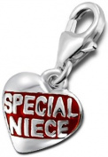 """Genuine 925 Sterling Silver """"Special Niece"""" Love Heart Charm with Enamel - FREE GIFT BOX"""
