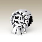 Best Mum Award - Sterling Silver Charm Bead - fits Pandora, Chamilia etc style Bracelets - SpangleBead
