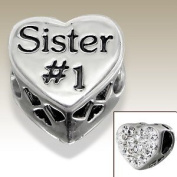 Number 1 Sister - Crystal Heart - Sterling Silver Charm Bead - fits Pandora, Chamilia etc style Bracelets - SpangleBead