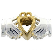 Sterling Silver & 9ct Gold Charm Bead - Irish Claddagh - For Pandora Style Bracelets