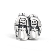 Bling Jewellery Sterling Silver Loving Sisters Charm Bead Fits Pandora Chamilia