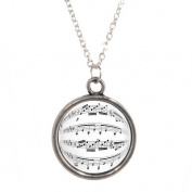 Silver Plated Chain Necklace with Sheet Music Design Pendant
