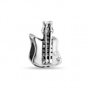 Bling Jewellery Sterling Silver CZ Rock Electric Guitar Bead Fits Pandora Charms