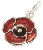 CLASSIC DESIGNS Sterling Silver 925 Enamelled Poppy Charm N545
