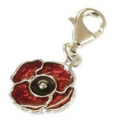 CLASSIC DESIGNS Sterling Silver 925 Enamelled Poppy Clip On Charm N545TC
