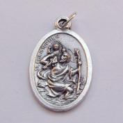 St. Christopher Catholic medal pendant - silver colour metal 2cm