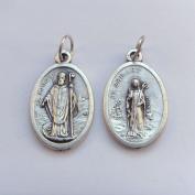St. Patrick and St. Bridget image medal pendant - silver colour metal 2cm