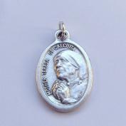 Mother Teresa Catholic medal pendant - silver colour metal 2cm