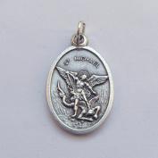 St. Michael Catholic medal pendant - silver colour metal 2cm
