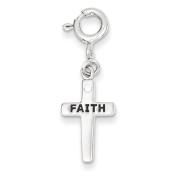 Sterling Silver CZ Faith Cross Clip-on Charm - JewelryWeb