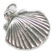 Shell sterling silver charm .925 Clam Oyster shells x 1 SSLP2387