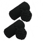 Black Barrel Silk Knot Cufflinks