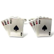 Mens Cufflinks - 4 Aces - For the Card Player - in a BROWN Magnetic Cufflink Gift Box