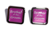 Brother of the Groom Hot Pink Square Wedding Cufflinks.