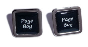 Page Boy Black Square Wedding Cufflinks.