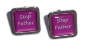 Stepfather Hot Pink Square Wedding Cufflinks.
