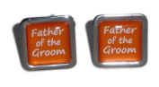 Father of the Groom Orange Square Wedding Cufflinks.
