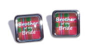 Brother of the Bride Red Tartan Square Wedding Cufflinks.