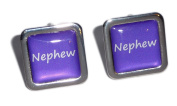 Nephew Purple Square Wedding Cufflinks.