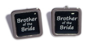 Brother of the Bride Black Square Wedding Cufflinks.