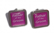 Father of the Groom Hot Pink Square Wedding Cufflinks.