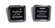 Father of the Groom Black Square Wedding Cufflinks.