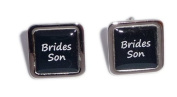Brides Son Black Square Wedding Cufflinks.