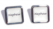 Nephew White Square Wedding Cufflinks.