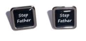 Stepfather Black Square Wedding Cufflinks.