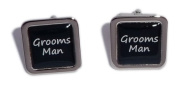 Grooms Man Black Square Wedding Cufflinks.