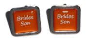 Brides Son Orange Square Wedding Cufflinks.
