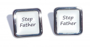 Stepfather White Square Wedding Cufflinks.