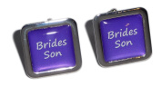 Brides Son Purple Square Wedding Cufflinks.