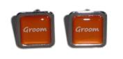 Groom Orange Square Wedding Cufflinks.