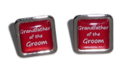 Grandfather of the Groom Red Square Wedding Cufflinks.