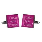 Father of Groom Hot Pink Square Wedding Cufflinks
