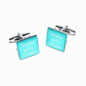 Brother of Groom Teal Square Wedding Cufflinks