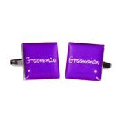 Groomsman Purple Square Wedding Cufflinks
