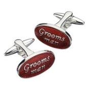 Groomsman Red & Chrome Oval Cufflinks - ORE_CUFF