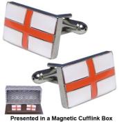 St George Cross Cufflinks - England Flag Cufflinks in a Magnetic Cufflink Box