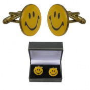 Yellow Cufflinks - Happy Smiley Face Cufflinks From Kitsch Cufflinks