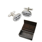 Mens Designer Cufflinks - I'm The Boss / I'm Never Wrong - Gifts for a boss