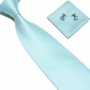 New Aqua Blue Woven Satin Men's Tie with Matching Pocket Square & Cufflinks