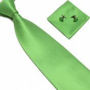 New Apple Green Woven Satin Men's Tie with Matching Pocket Square & Cufflinks