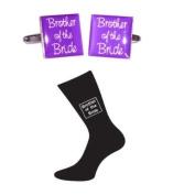Brother of Bride Purple Square Wedding Cufflinks and Black Socks