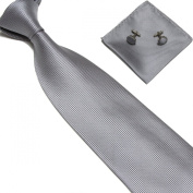 New Silver Woven Satin Men's Tie with Matching Pocket Square & Cufflinks